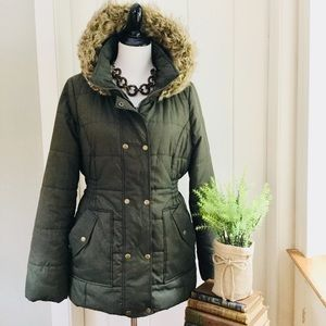KRUSH Olive Green Faux Fur Hooded Puffer Coat